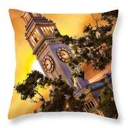 Ferry Building Golden Sun Throw Pillow