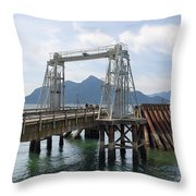 Ferry Dock And Pier At Porteau Cove Throw Pillow