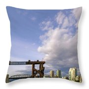 Ferry Dock At Granville Island In British Columbia Throw Pillow