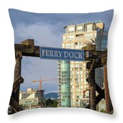 Ferry Dock At Granville Island In Vancouver Bc Closeup Throw Pillow