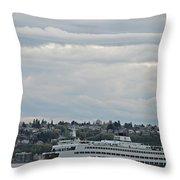 Ferry In Seattle Washington Throw Pillow