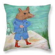 Ferry Mouse Throw Pillow