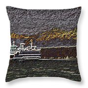 Ferry On Elliott Bay 3 Throw Pillow