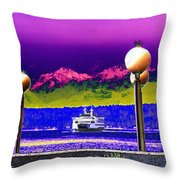 Ferry On Elliott Bay Throw Pillow
