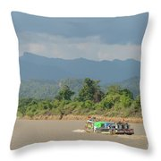 Ferry On The Chindwin 2 Throw Pillow
