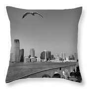 Ferry Ride To Statue Of Liberty Ny Nj Black Wht  Throw Pillow