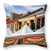 Festival New Orleans Seafood - French Quarter Throw Pillow