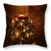 Festive Christmas Vintage Mannequin Throw Pillow