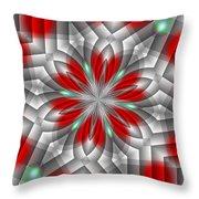 Festive Fractal Throw Pillow
