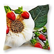 Festive Garlic Throw Pillow