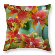 Festive Orchids Throw Pillow