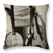 Fiddle And Mandolin Banjo Throw Pillow
