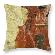 Fiddle In Grunge Style Throw Pillow