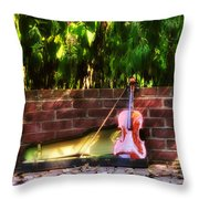 Fiddle On The Garden Wall Throw Pillow