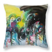 Fiddleheads 105- Original Abstract Colorful Landscape Painting For Sale Red Blue Green Throw Pillow