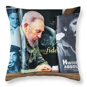Fidel At The Used Book Sellers Market Throw Pillow
