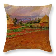 Field And Haystacks 1885 Throw Pillow