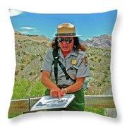 Field Archeologist Ranger In Quarry In Dinosaur National Monument, Utah  Throw Pillow