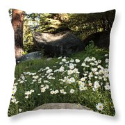 Field Of Daisies In Tahoe Throw Pillow