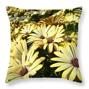 Field Of Daisies Landscape Floral Art Prints Daisy Baslee Troutman Throw Pillow