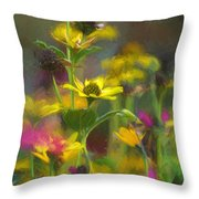 Field Of Flowers Paint Throw Pillow