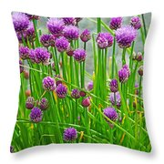 Field Of Onions  Throw Pillow