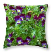 Field Of Pansy's Throw Pillow