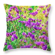 Field Of Purple Flowers Throw Pillow