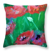 Field Of Red 2 Throw Pillow