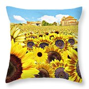 Field Of Sunflowers Throw Pillow