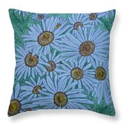 Field Of Wild Daisies Throw Pillow