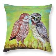 Field Owls  Throw Pillow