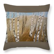 Field With Birches Throw Pillow