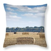 Field With Straw Bale And Center Pivot Sprinkler System Agricult Throw Pillow