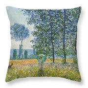 Fields In Spring, 1887 Throw Pillow