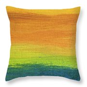 Fields Of Gold 1 - Abstract Summer Landscape Painting Throw Pillow