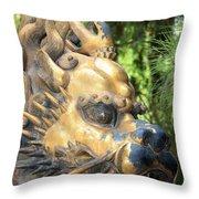 Fierce Foo Dog Face Throw Pillow