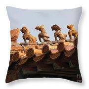 Fierce Guardians Of The Forbidden City Throw Pillow