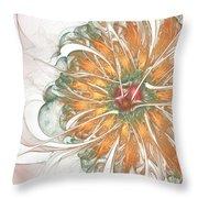 Fiery Chrysanthemum Throw Pillow