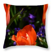 Fiery Colored Tulips Throw Pillow
