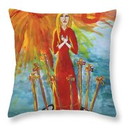 Fiery Eight Of Swords Illustrated Throw Pillow