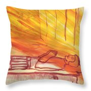 Fiery Four Of Swords Illustrated Throw Pillow