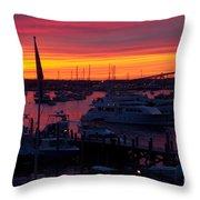 Fiery Harbor Throw Pillow