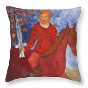 Fiery Knight Of Swords Throw Pillow