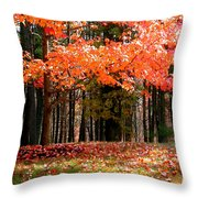 Fiery Leaves Throw Pillow