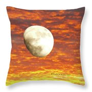 Fiery Moon Throw Pillow