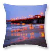Fiery Pier Throw Pillow