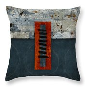 Fiery Red And Indigo One Of Two Throw Pillow