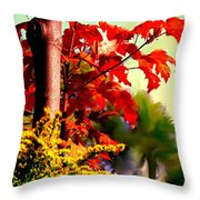 Fiery Red Autumn Throw Pillow