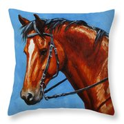 Fiery Red Bay Horse Throw Pillow